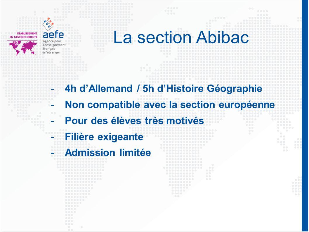 La section Abibac -4h d'Allemand / 5h d'Histoire Géographie -Non compatible avec la section européenne -Pour des élèves très motivés -Filière exigeante -Admission limitée