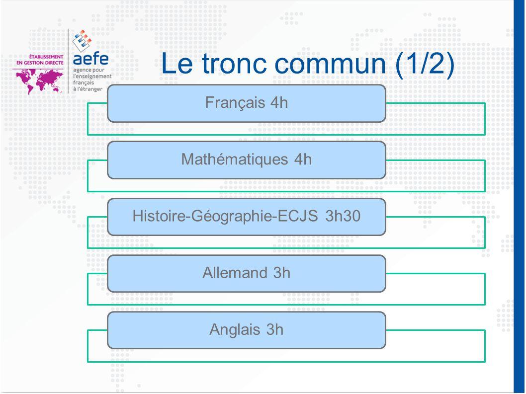 Le tronc commun (1/2) Français 4hMathématiques 4hHistoire-Géographie-ECJS 3h30Allemand 3hAnglais 3h