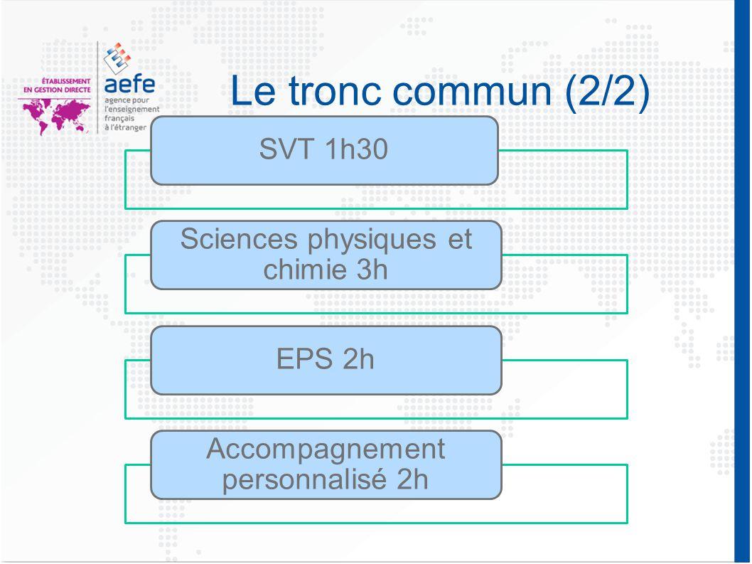 Le tronc commun (2/2) SVT 1h30 Sciences physiques et chimie 3h EPS 2h Accompagnement personnalisé 2h