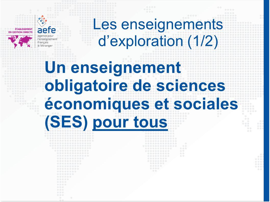 Les enseignements d'exploration (1/2) Un enseignement obligatoire de sciences économiques et sociales (SES) pour tous