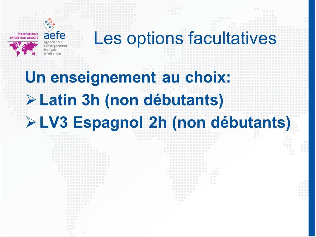 Les options facultatives Un enseignement au choix:  Latin 3h (non débutants)  LV3 Espagnol 2h (non débutants)