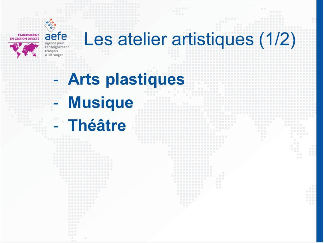 Les atelier artistiques (1/2) -Arts plastiques -Musique -Théâtre