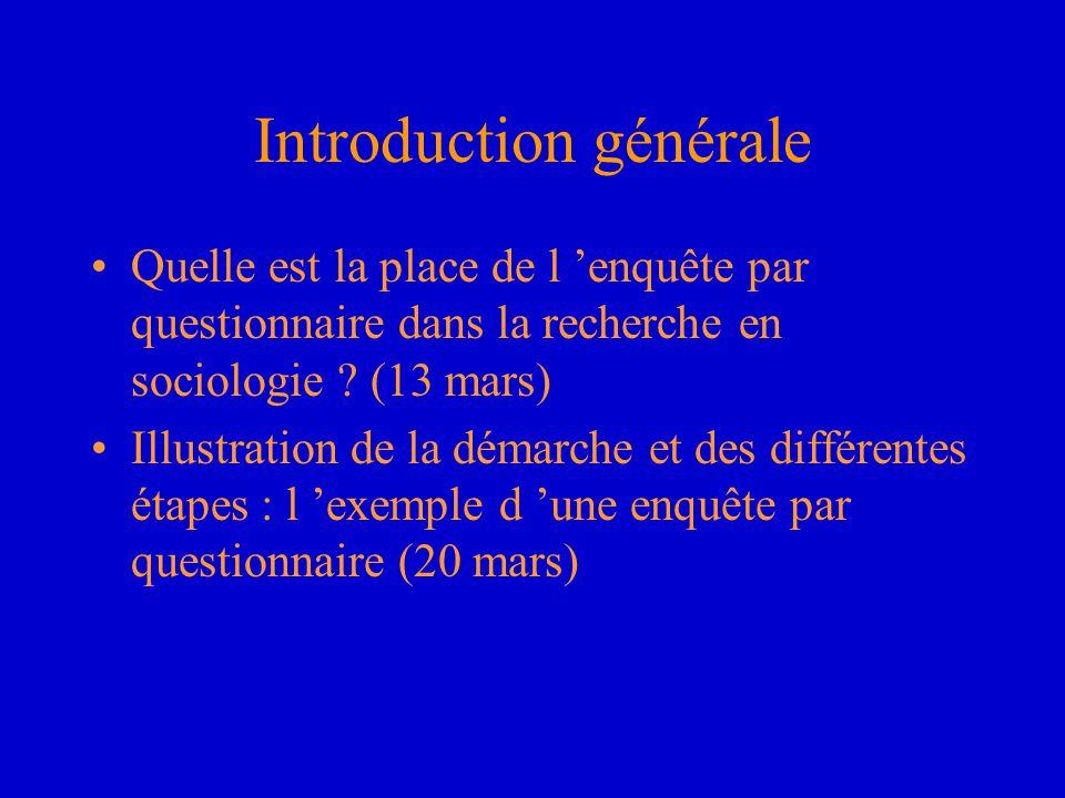 Introduction générale Quelle est la place de l 'enquête par questionnaire dans la recherche en sociologie ? (13 mars) Illustration de la démarche et d
