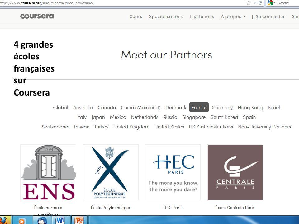 4 grandes écoles françaises sur Coursera