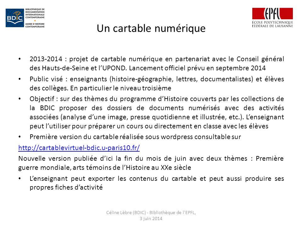 Un cartable numérique 2013-2014 : projet de cartable numérique en partenariat avec le Conseil général des Hauts-de-Seine et l'UPOND.