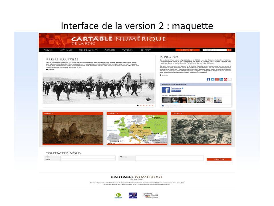 Interface de la version 2 : maquette