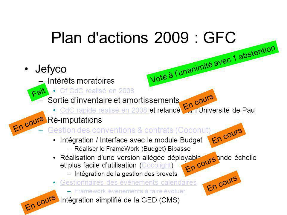 Plan d actions 2009 : GFC Jefyco –Comptabilité analytiqueComptabilité analytique CdC.