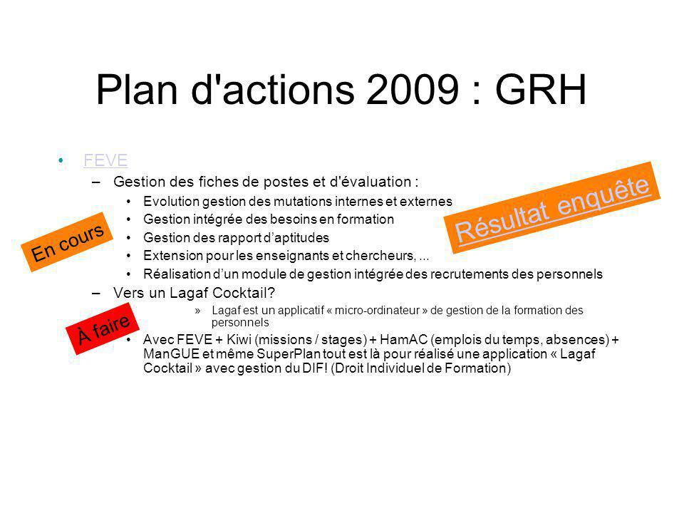 Plan d actions 2009 Documentations Utilisateur (remodelage du site...) site documentation Technique Un outil commun VP (groupe de test 3 mois) Reverse...