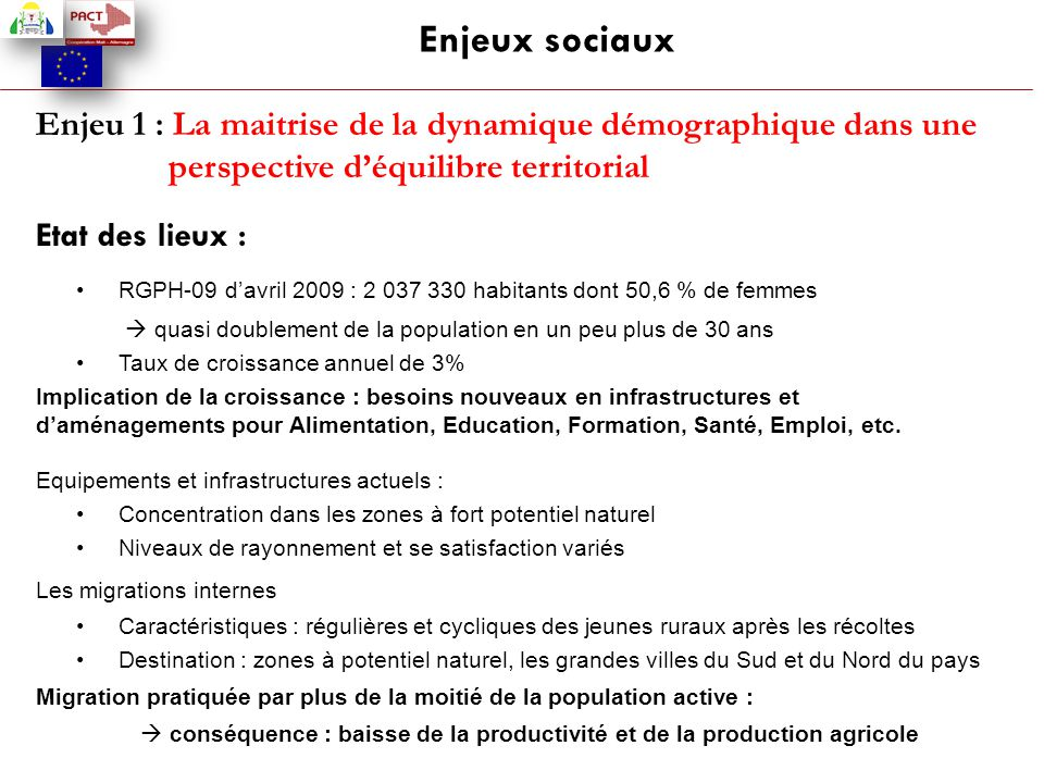 Enjeu 1 : La maitrise de la dynamique démographique dans une perspective d'équilibre territorial Etat des lieux : RGPH-09 d'avril 2009 : 2 037 330 hab