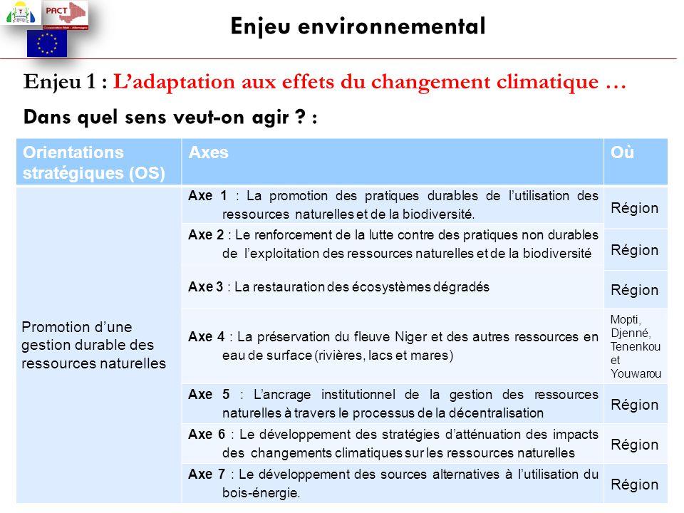 Enjeu environnemental Enjeu 1 : L'adaptation aux effets du changement climatique … Dans quel sens veut-on agir ? : Orientations stratégiques (OS) Axes