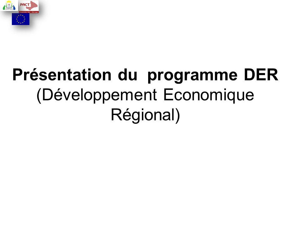 Présentation du programme DER (Développement Economique Régional)