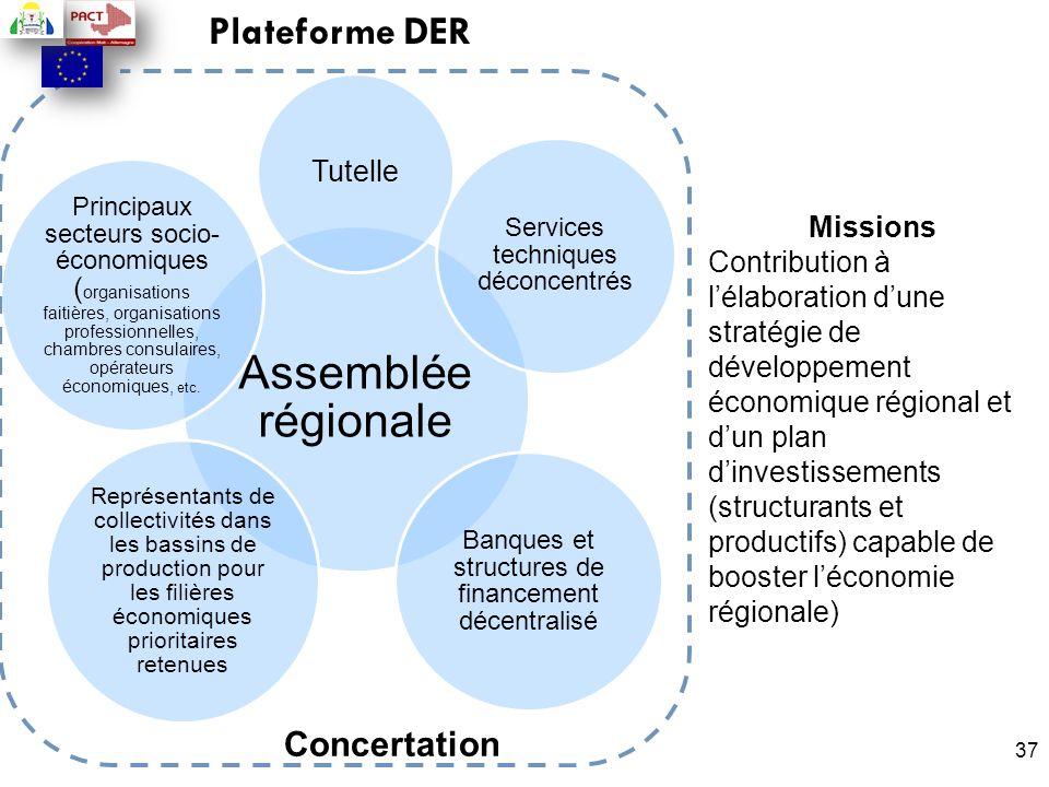 37 Plateforme DER Concertation Missions Contribution à l'élaboration d'une stratégie de développement économique régional et d'un plan d'investissemen