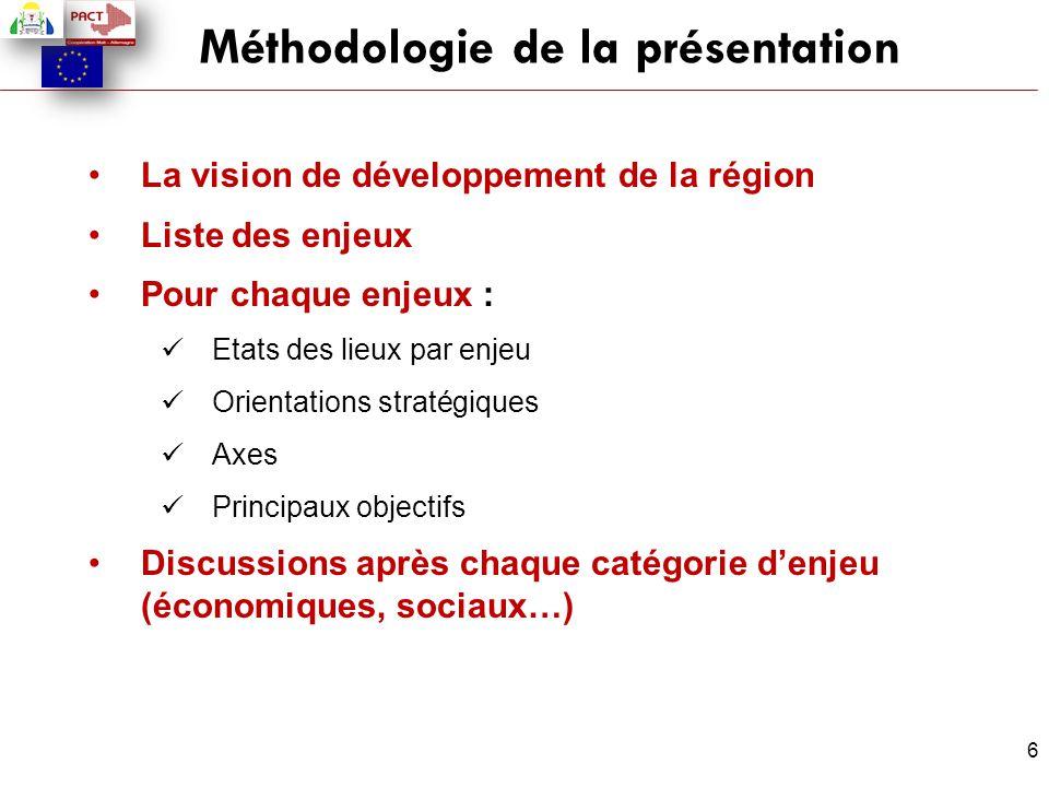 6 Méthodologie de la présentation La vision de développement de la région Liste des enjeux Pour chaque enjeux : Etats des lieux par enjeu Orientations
