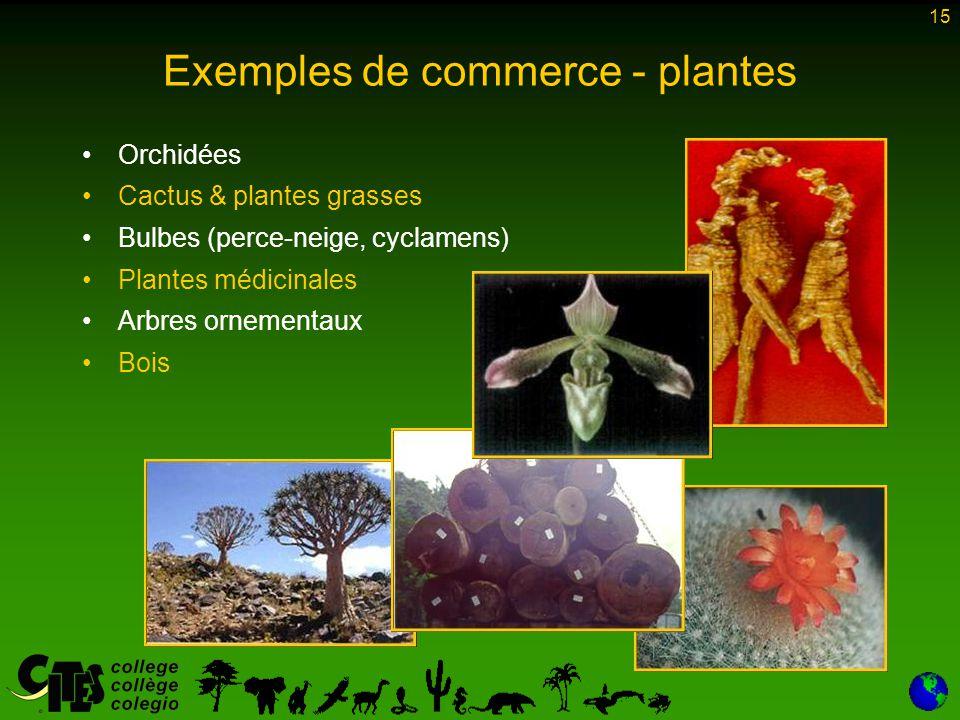15 Exemples de commerce - plantes Orchidées Cactus & plantes grasses Bulbes (perce-neige, cyclamens) Plantes médicinales Arbres ornementaux Bois