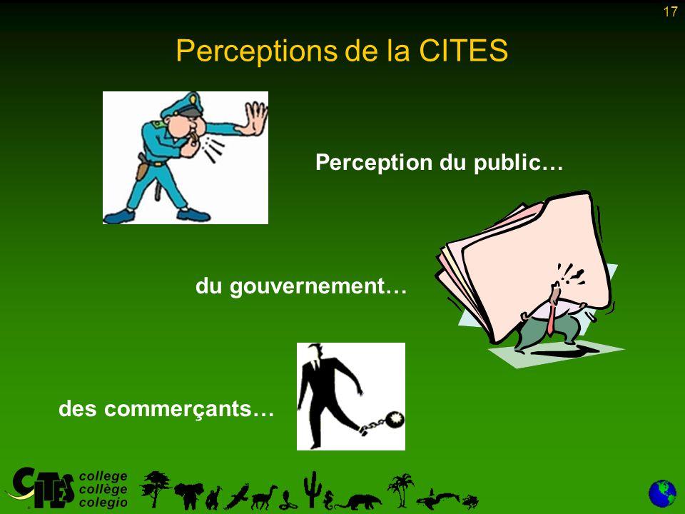 17 Perception du public… du gouvernement… des commerçants… Perceptions de la CITES