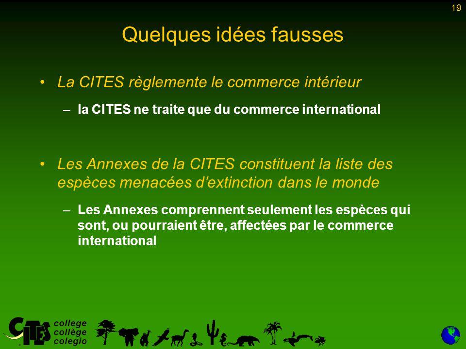 19 Quelques idées fausses La CITES règlemente le commerce intérieur –la CITES ne traite que du commerce international Les Annexes de la CITES constitu