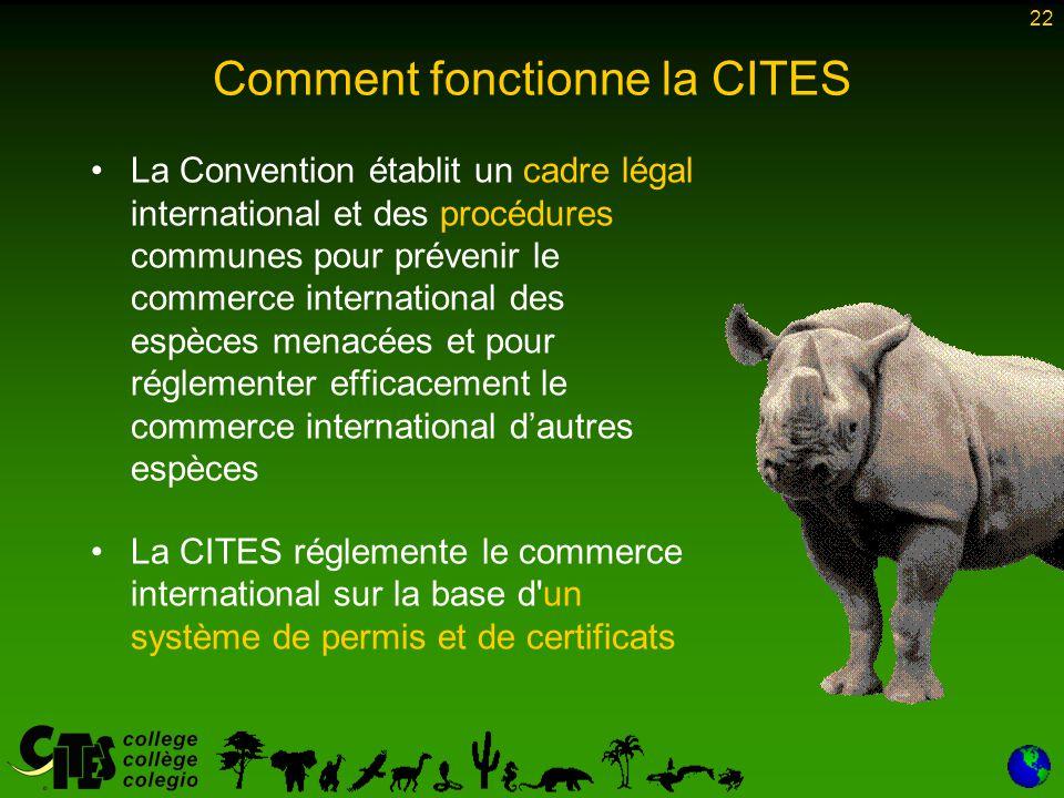 22 Comment fonctionne la CITES La Convention établit un cadre légal international et des procédures communes pour prévenir le commerce international d