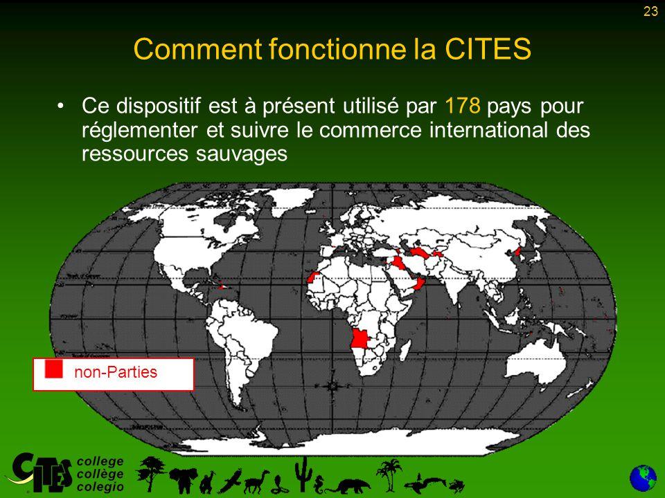 23 Comment fonctionne la CITES Ce dispositif est à présent utilisé par 178 pays pour réglementer et suivre le commerce international des ressources sa