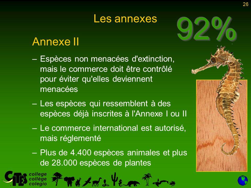 26 Les annexes Annexe II – –Espèces non menacées d'extinction, mais le commerce doit être contrôlé pour éviter qu'elles deviennent menacées – –Les esp