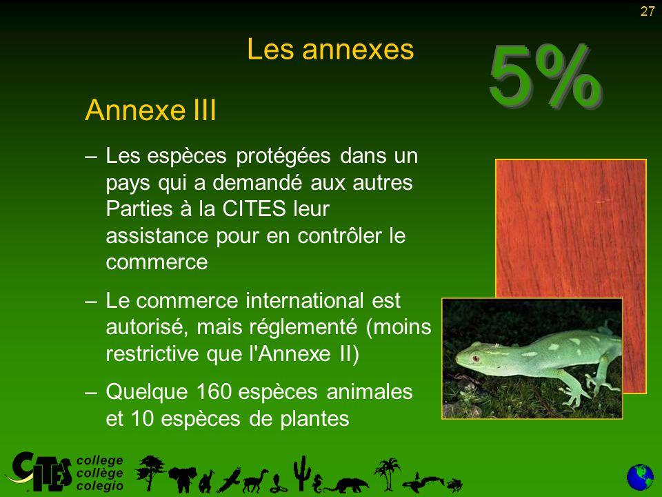 27 Les annexes Annexe III – –Les espèces protégées dans un pays qui a demandé aux autres Parties à la CITES leur assistance pour en contrôler le comme