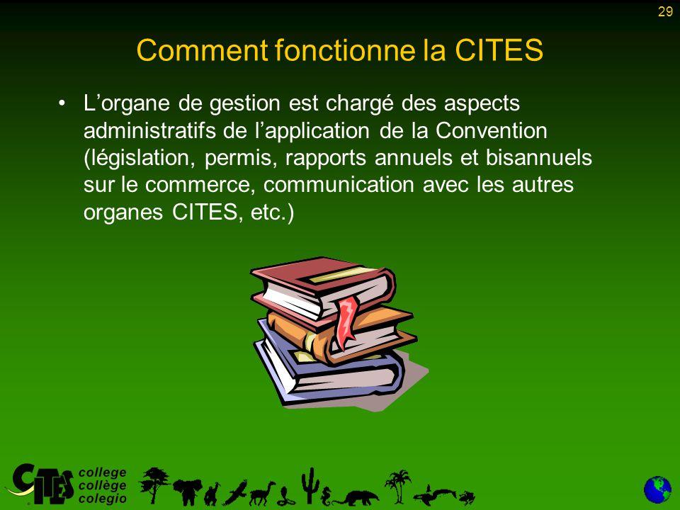 29 Comment fonctionne la CITES L'organe de gestion est chargé des aspects administratifs de l'application de la Convention (législation, permis, rappo