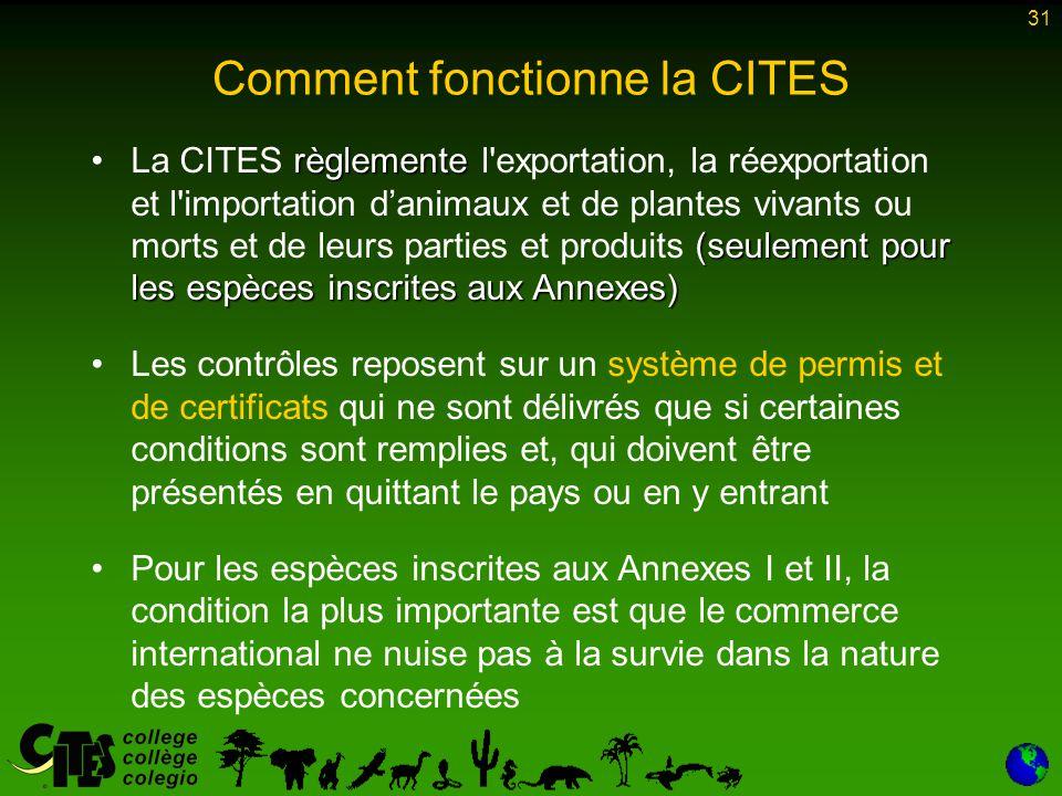 31 règlemente (seulement pour les espèces inscrites aux Annexes)La CITES règlemente l'exportation, la réexportation et l'importation d'animaux et de p