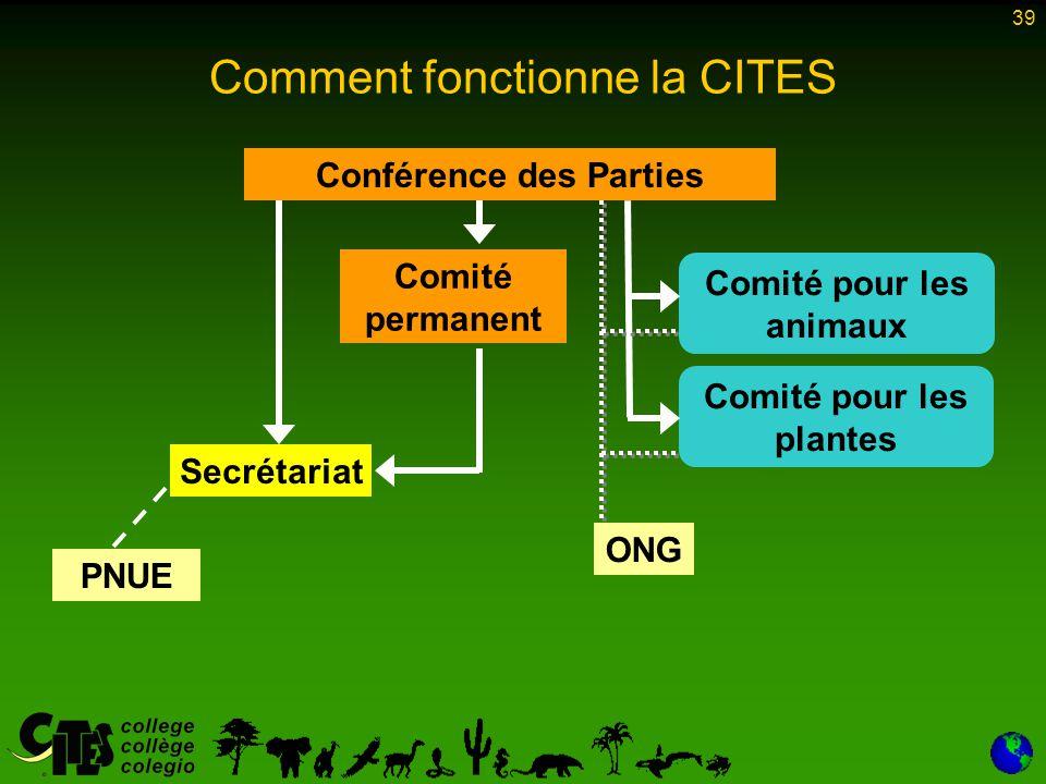 39 Conférence des Parties Comité permanent Secrétariat Comité pour les plantes Comité pour les animaux PNUE ONG Comment fonctionne la CITES