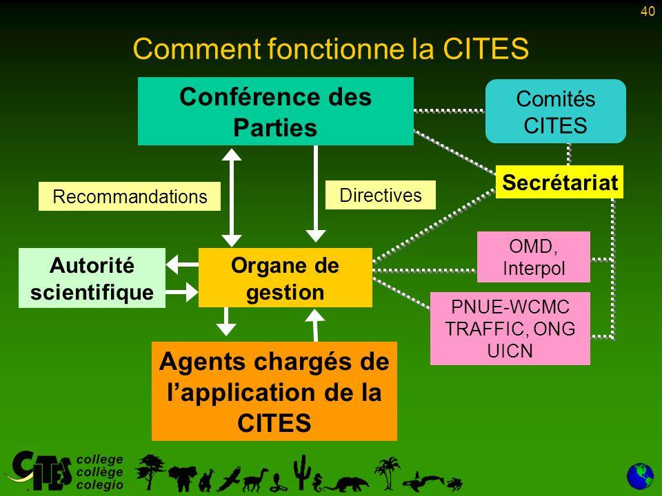 40 Conférence des Parties Organe de gestion Secrétariat Comités CITES Directives PNUE-WCMC TRAFFIC, ONG UICN OMD, Interpol Agents chargés de l'applica