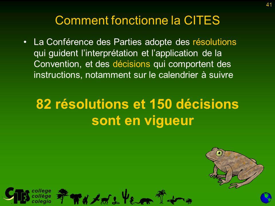 41 Comment fonctionne la CITES 82 résolutions et 150 décisions sont en vigueur La Conférence des Parties adopte des résolutions qui guident l'interpré