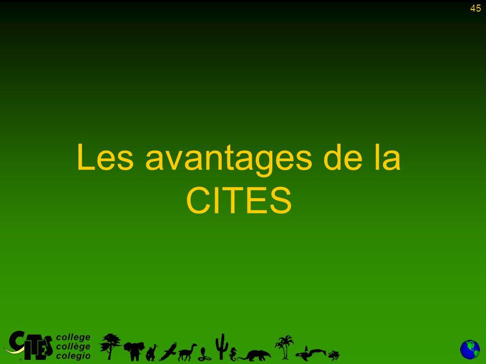 45 Les avantages de la CITES