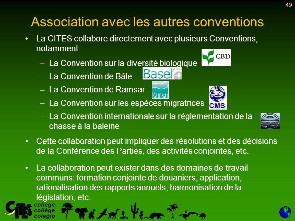 49 Association avec les autres conventions La CITES collabore directement avec plusieurs Conventions, notamment: –La Convention sur la diversité biolo