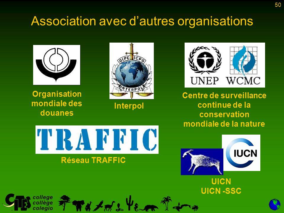50 Association avec d'autres organisations Organisation mondiale des douanes Interpol UICN UICN -SSC Réseau TRAFFIC Centre de surveillance continue de