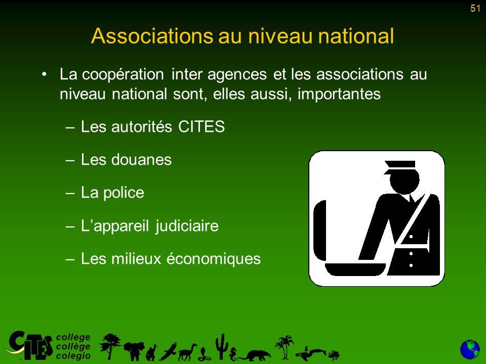 51 Associations au niveau national La coopération inter agences et les associations au niveau national sont, elles aussi, importantes –Les autorités C
