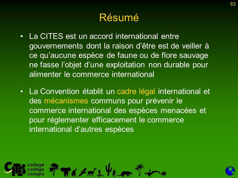 53 Résumé La CITES est un accord international entre gouvernements dont la raison d'être est de veiller à ce qu'aucune espèce de faune ou de flore sau