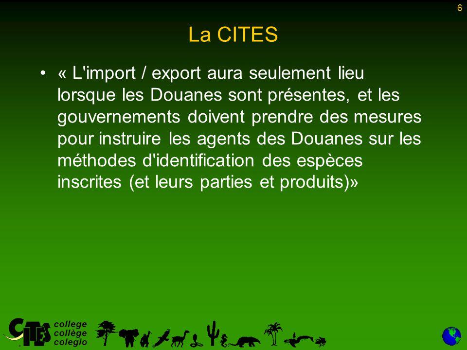 6 La CITES « L'import / export aura seulement lieu lorsque les Douanes sont présentes, et les gouvernements doivent prendre des mesures pour instruire