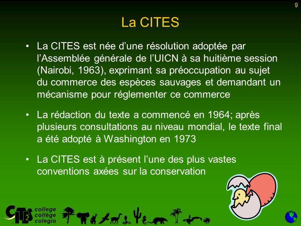 9 La CITES La CITES est née d'une résolution adoptée par l'Assemblée générale de l'UICN à sa huitième session (Nairobi, 1963), exprimant sa préoccupat