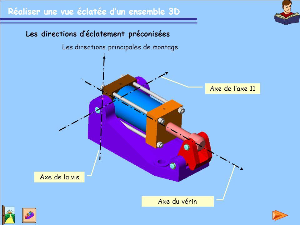Réaliser une vue éclatée d'un ensemble 3D Les directions d'éclatement préconisées Les directions principales de montage Axe du vérin Axe de la vis Axe