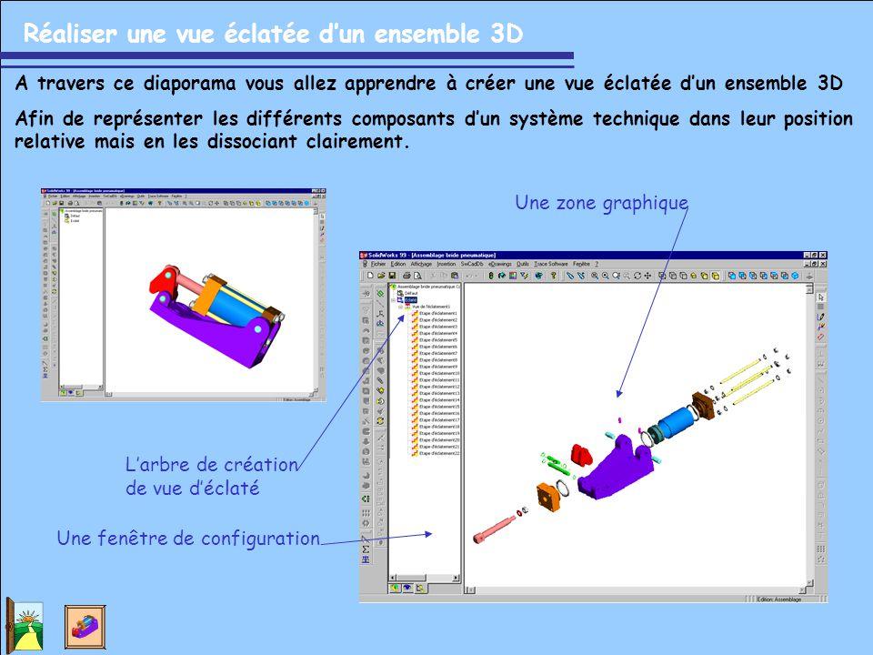 Réaliser une vue éclatée d'un ensemble 3D A travers ce diaporama vous allez apprendre à créer une vue éclatée d'un ensemble 3D Afin de représenter les