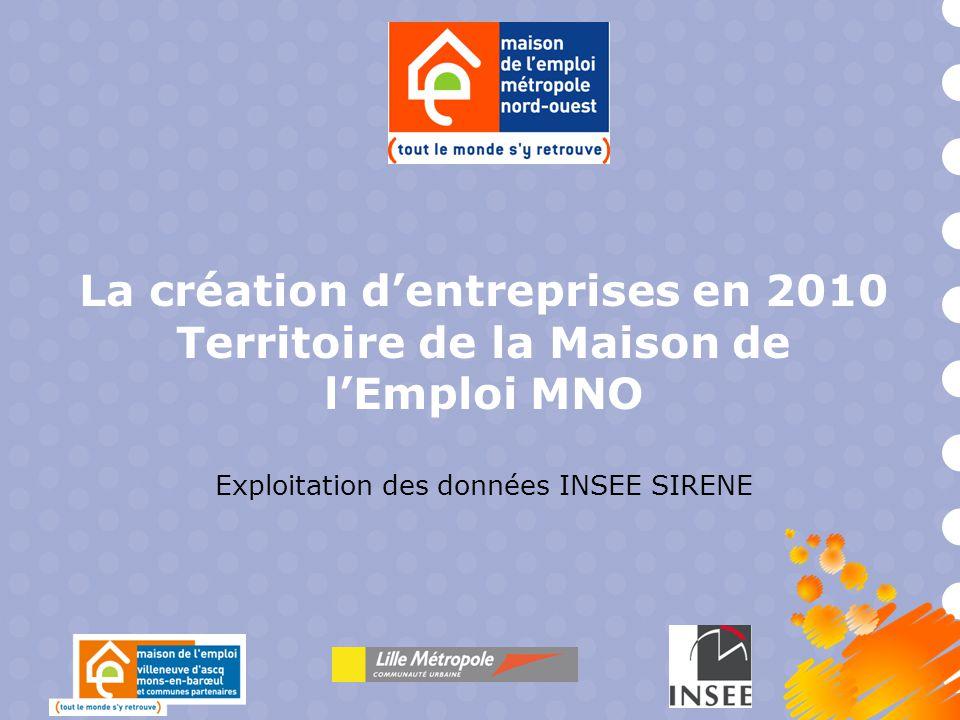 La création d'entreprises en 2010 Territoire de la Maison de l'Emploi MNO Exploitation des données INSEE SIRENE