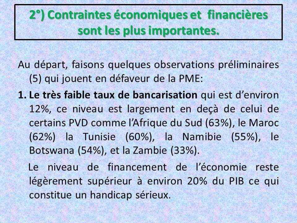 2°) Contraintes économiques et financières sont les plus importantes. Au départ, faisons quelques observations préliminaires (5) qui jouent en défaveu