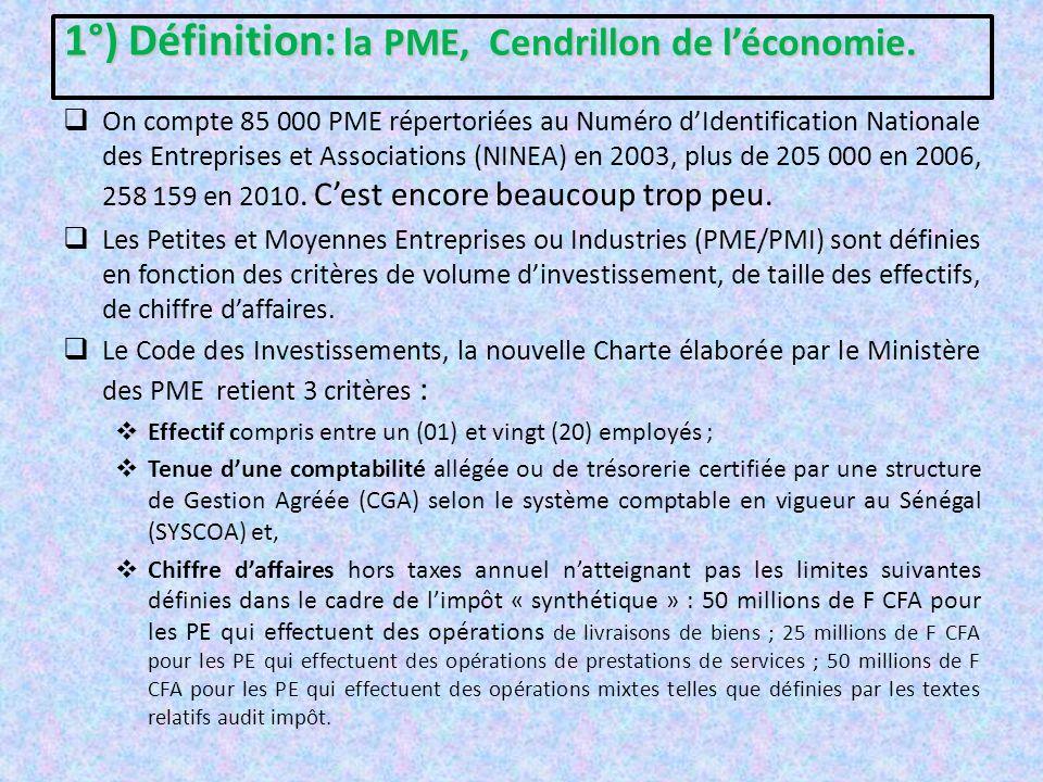 2°) Caractéristiques et analyse dynamique du tissu des PME au Sénégal.