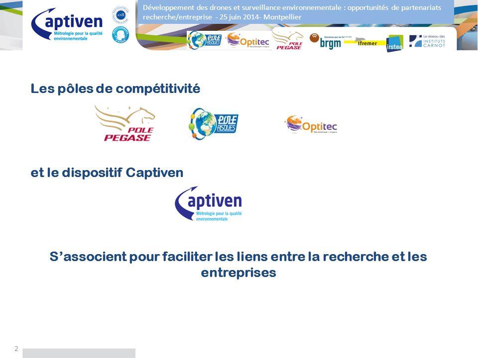 Développement des drones et surveillance environnementale : opportunités de partenariats recherche/entreprise - 25 juin 2014- Montpellier 2 Les pôles