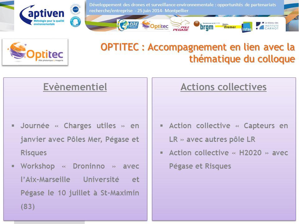 Développement des drones et surveillance environnementale : opportunités de partenariats recherche/entreprise - 25 juin 2014- Montpellier 8 OPTITEC :