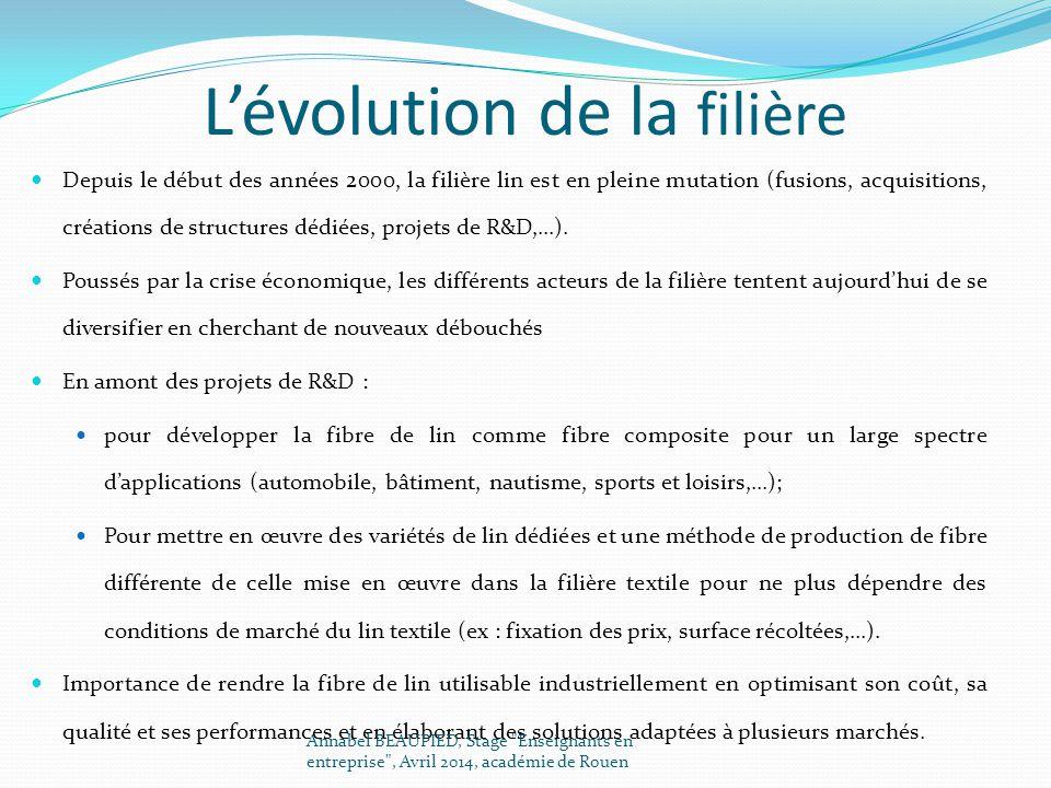 L'évolution de la filière Depuis le début des années 2000, la filière lin est en pleine mutation (fusions, acquisitions, créations de structures dédié
