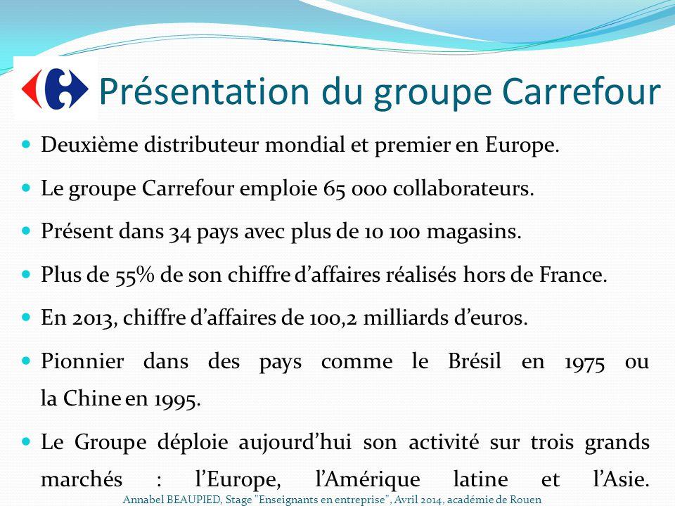 Présentation du groupe Carrefour Deuxième distributeur mondial et premier en Europe. Le groupe Carrefour emploie 65 000 collaborateurs. Présent dans 3