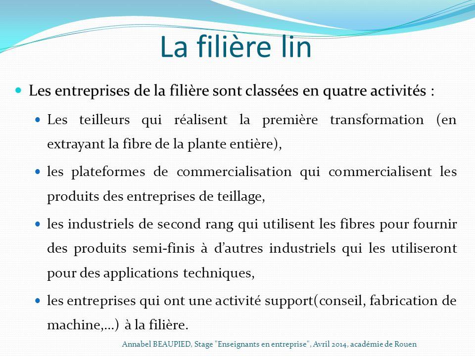 La filière lin Les entreprises de la filière sont classées en quatre activités : Les teilleurs qui réalisent la première transformation (en extrayant