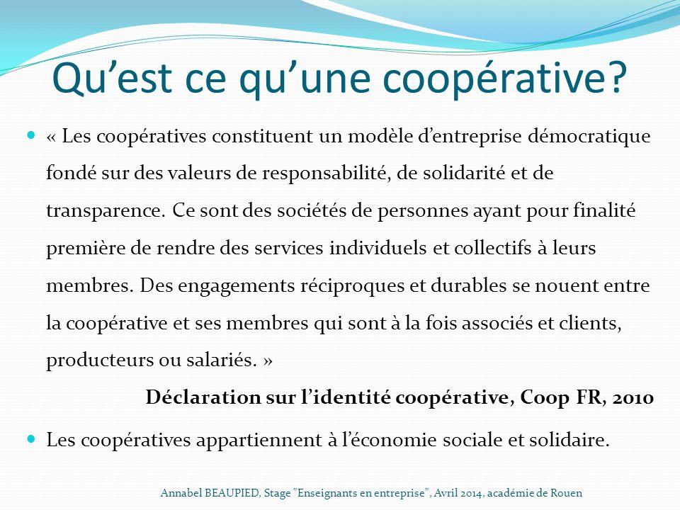 Qu'est ce qu'une coopérative? « Les coopératives constituent un modèle d'entreprise démocratique fondé sur des valeurs de responsabilité, de solidarit