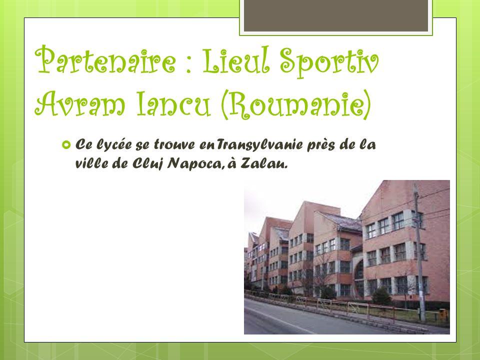 Partenaire : Lieul Sportiv Avram Iancu (Roumanie)  Ce lycée se trouve en Transylvanie près de la ville de Cluj Napoca, à Zalau.