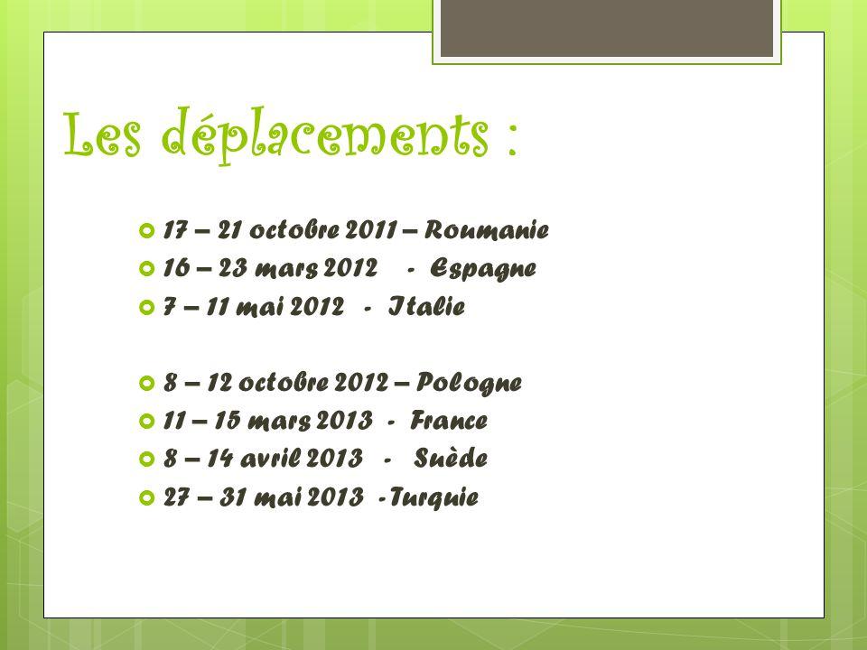 Les déplacements :  17 – 21 octobre 2011 – Roumanie  16 – 23 mars 2012 - Espagne  7 – 11 mai 2012 - Italie  8 – 12 octobre 2012 – Pologne  11 – 1