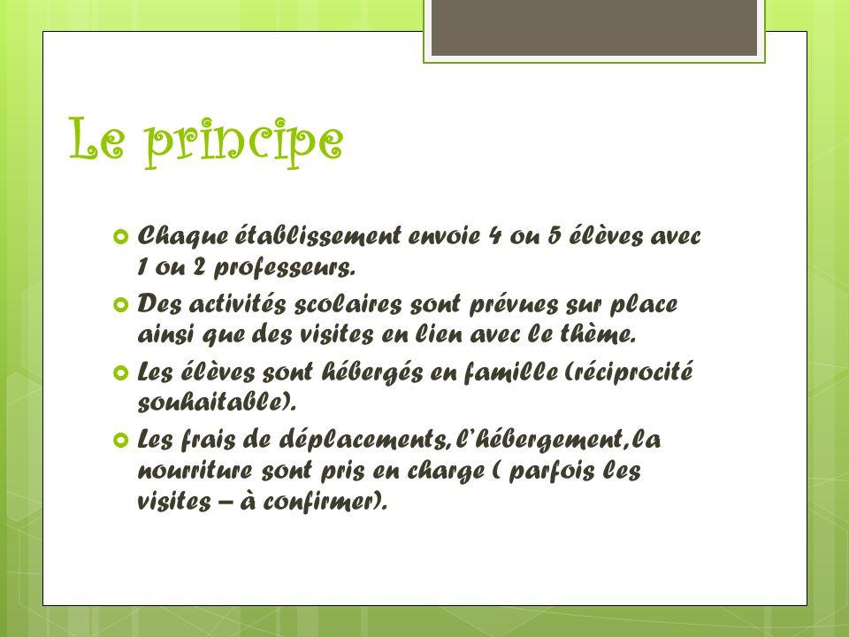 Le principe  Chaque établissement envoie 4 ou 5 élèves avec 1 ou 2 professeurs.  Des activités scolaires sont prévues sur place ainsi que des visite